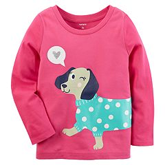 Baby Girl Carter's Dog Glittery Graphic Tee