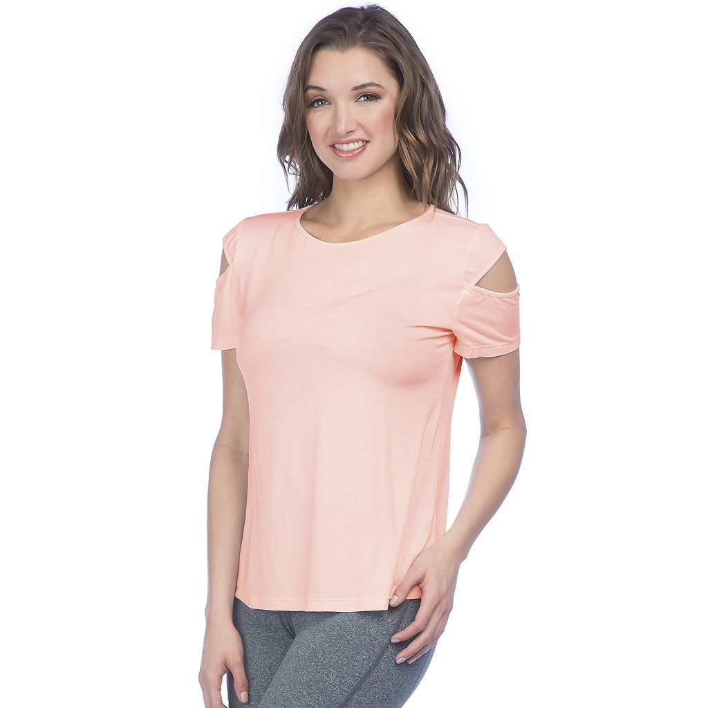 Women's PL Movement by Pink Lotus Stardust Cold Shoulder Yoga Tee