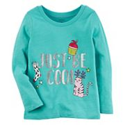 Baby Girl Carter's Glittery 'Just Be Cool' Holiday Graphic Tee
