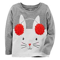Baby Girl Carter's Sherpa Ear Muff Bunny Graphic Tee
