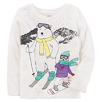 Baby Girl Carter's Glittery Polar Bear Skiing Graphic Tee