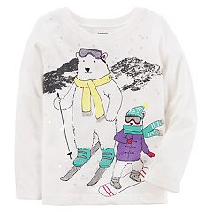 Baby Girl Carter's Glittery Polar Bear Skiing Graphic Tee