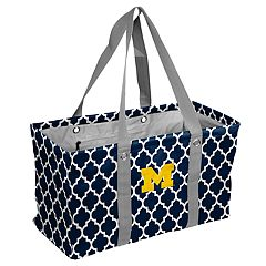 Logo Brand Michigan Wolverines Quatrefoil Picnic Caddy Tote
