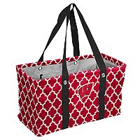 Logo Brand Wisconsin Badgers Quatrefoil Picnic Caddy Tote