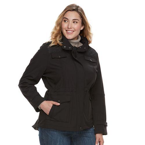 f877e86585cbd Plus Size MO-KA Hooded Soft Shell Anorak Jacket