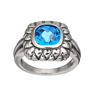 Adora Sterling Silver Simulated Blue Topaz Square Ring