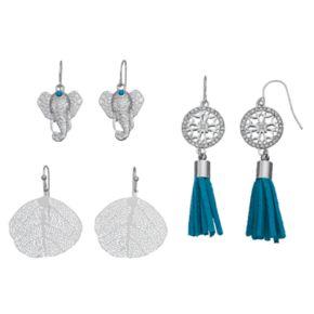Elephant, Leaf & Blue Tassel Drop Earring Set