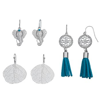 Elephant, Leaf & Blue Tassel Drop Earring Set