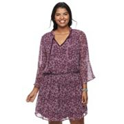 Juniors' Plus Size Speechless Print Bell Sleeve Dress