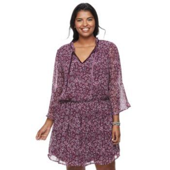 Juniors' Plus Size Speechless Print Bell Sleeve Dress