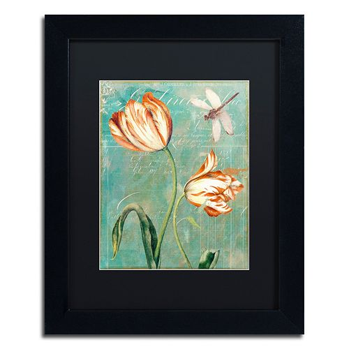 Trademark Fine Art Tulips Ablaze I Black Framed Wall Art