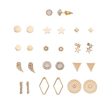 Star, Medallion & Geometric Nickel Free Stud Earring Set