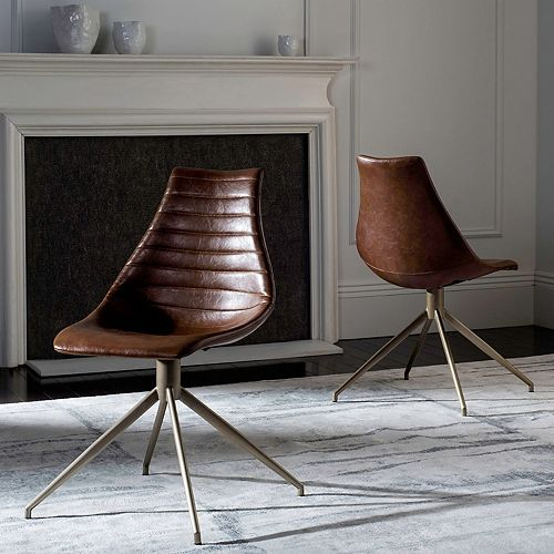 Safavieh Lynette Faux-Leather Swivel Accent Chair 2-piece Set