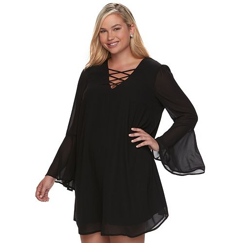 Juniors Plus Size Speechless Bell Long Sleeve Dress