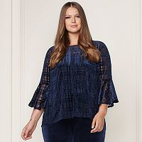 LC Lauren Conrad Runway Collection Velvet Flocked Top - Plus Size