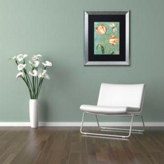Trademark Fine Art Tulips Ablaze I Silver Finish Framed Wall Art