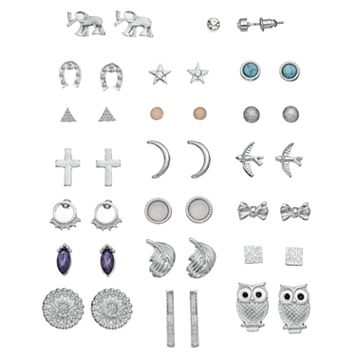 Elephant, Owl, Bird & Cross Nickel Free Stud Earring Set