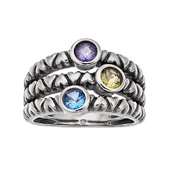 Adora Sterling Silver Simulated Gemstone  Ring Multirow Ring