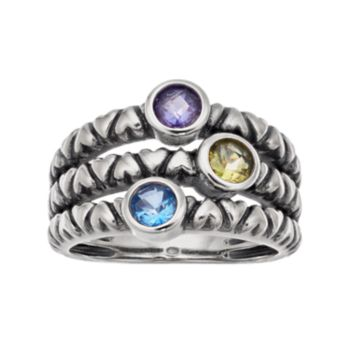Adora Sterling Silver Simulated Gemstone  Ring Multirow Ring
