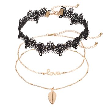 "Leaf Pendant, ""Love"" & Lace Choker Necklace Set"