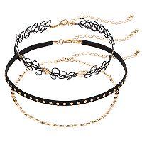 Studded, Chain & Tattoo Choker Necklace Set