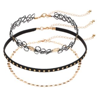 Studded, Chain & Tattoo Choker Necklace Set