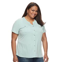 Plus Size Croft & Barrow® Button-Down Pocket Shirt