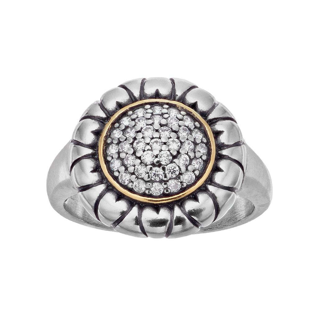 Adora Two Tone Sterling Silver Cubic Zirconia Circle Ring