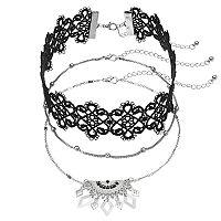Beaded Chain, Lace & Semi Circle Fringe Choker Necklace Set