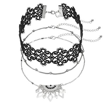 Beaded Chain, Lace & Semi Circle Fringe Choker Necklace Set