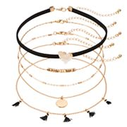 Black Tassel, Hammered Disc & Simulated Drusy Choker Necklace Set