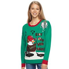 Juniors' It's Our Time Light-Up Snowman DJ Christmas Sweater