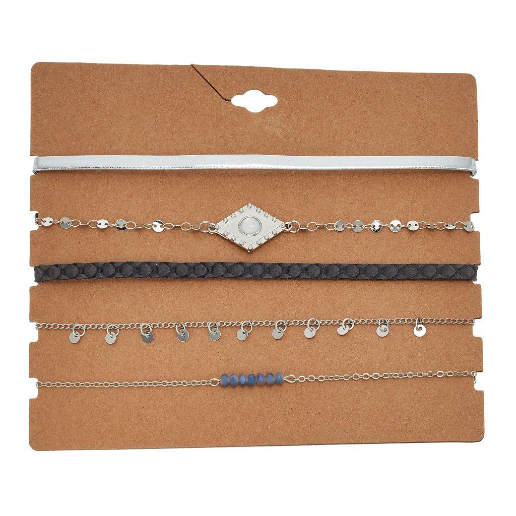 Braided, Beaded & Shaky Disc Choker Necklace Set