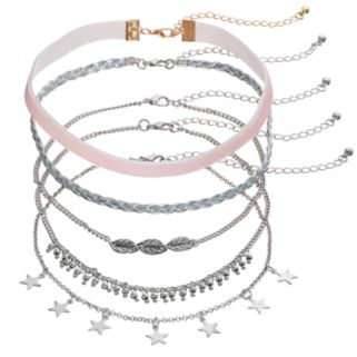 Braided Ribbon, Stars, Feather, Velvet & Shaky Bead Choker Necklace Set