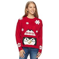 Junior's It's Our Time Light-Up Penguin Sweater