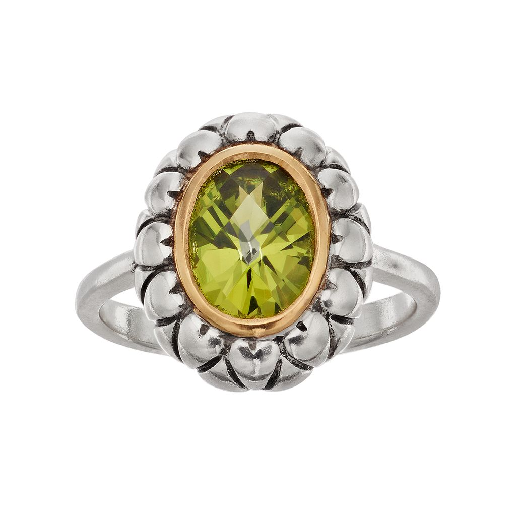Adora Two Tone Sterling Silver Simulated Peridot Oval Ring