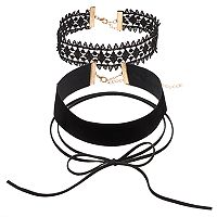Tie Lariat, Lace & Velvet Choker Necklace Set