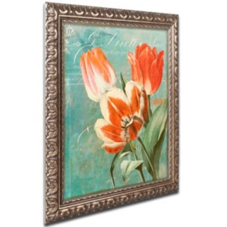 Trademark Fine Art Tulips Ablaze II Ornate Framed Wall Art