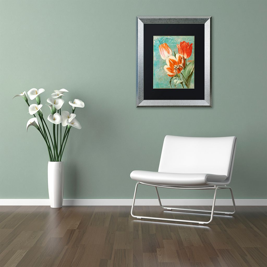 Trademark Fine Art Tulips Ablaze II Silver Finish Framed Wall Art