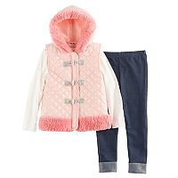 Girls 4-6x Little Lass Faux Fur Vest, Foil Tee & Jeggings Set