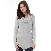 Juniors' IZ Byer V-Hem Cowlneck Sweater