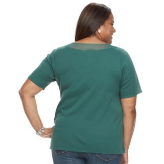 Plus Size Croft & Barrow® Crochet Boatneck Tee