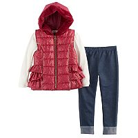 Girls 4-6x Little Lass Foil Faux Fur Vest, Ribbed Tee & Jeggings Set