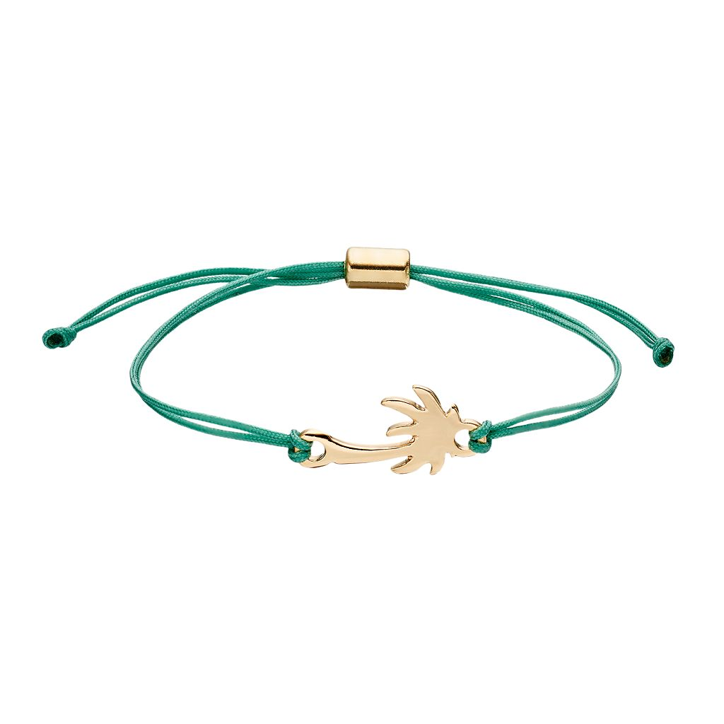 LC Lauren Conrad Palm Tree Green Cord Bracelet