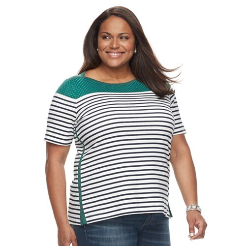 ef759ac1f85 Plus Size Croft   Barrow® Striped Boatneck Tee
