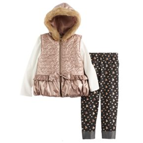 "Girls 4-6x Little Lass Puffer Vest, ""Love"" Tee & Leggings Set"