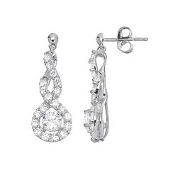 Sterling Silver Lab-Created White Sapphire Infinity Drop Earrings