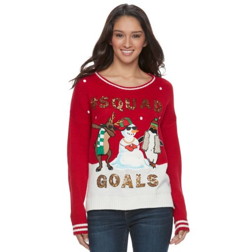 """Juniors' It's Our Time """"Squad Goals"""" Ugly Christmas Sweater"""