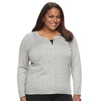 Plus Size Essential Croft & Barrow® Button-Front Cardigan