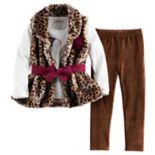 Girls 4-6x Little Lass Leopard Faux Fur Vest, Graphic Top & Leggings Set